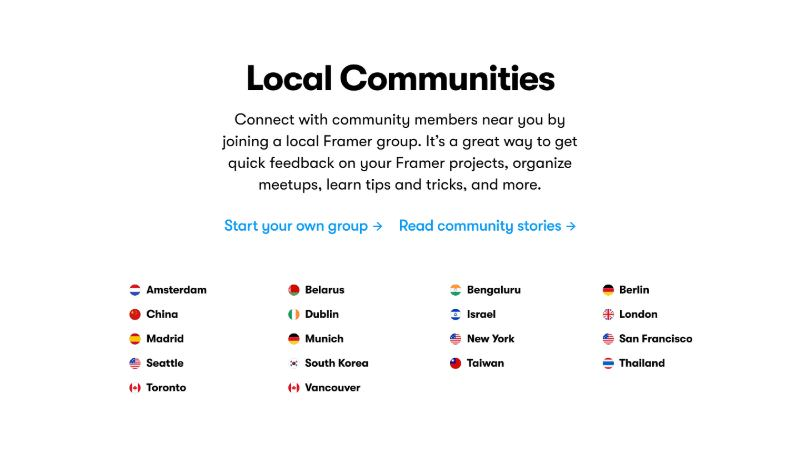 Community Section with List of Countries