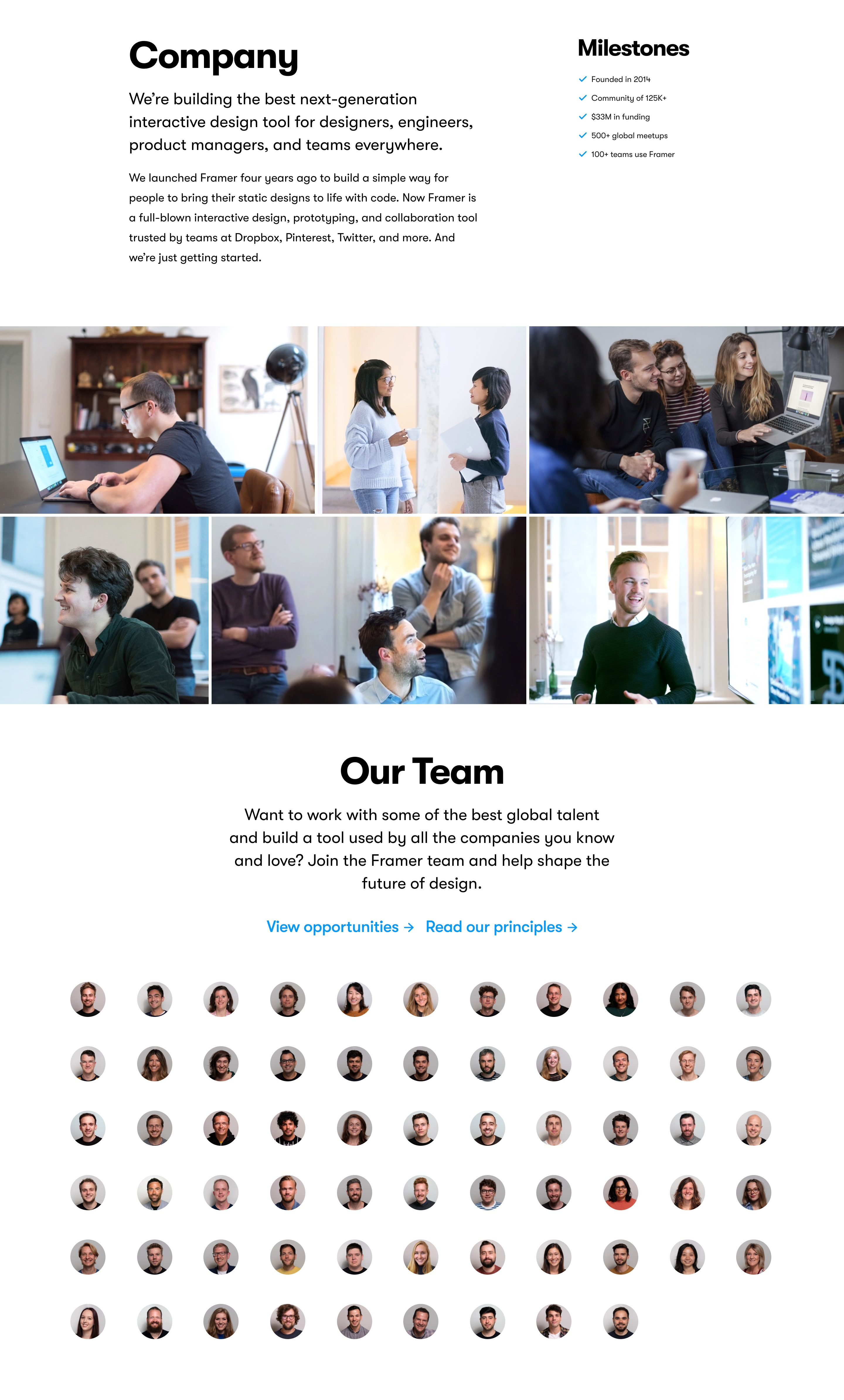 Company Page with Mission, Photo Gallery & Team Members