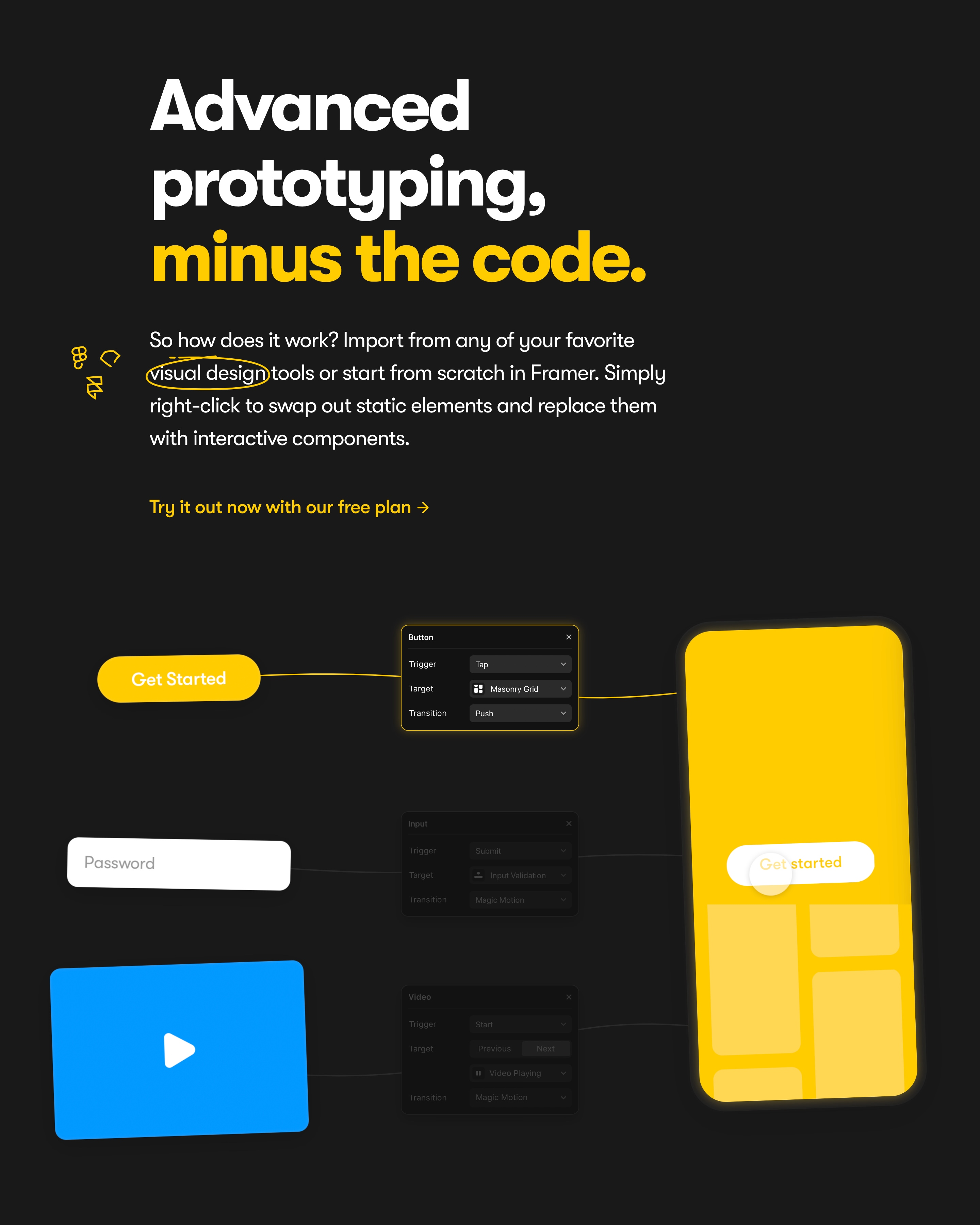 Feature with Prototyping Illustrations on Dark Background