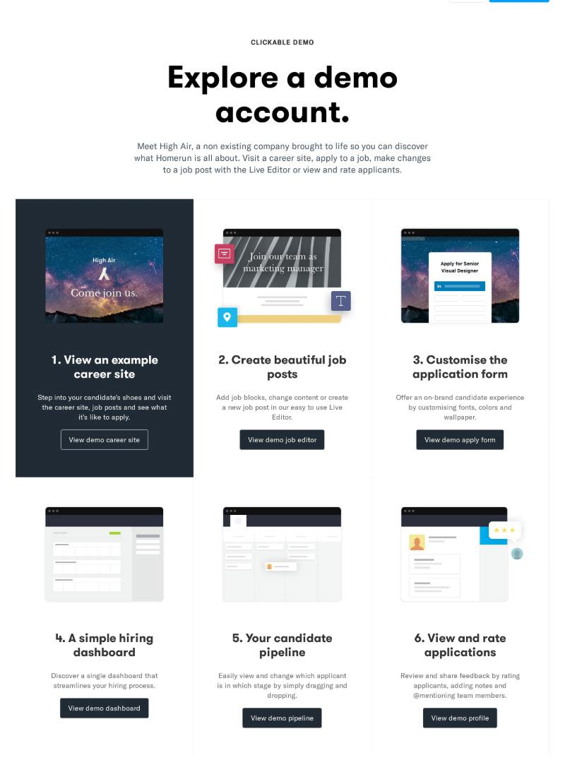 Explore Account with Grid of Actionable Steps