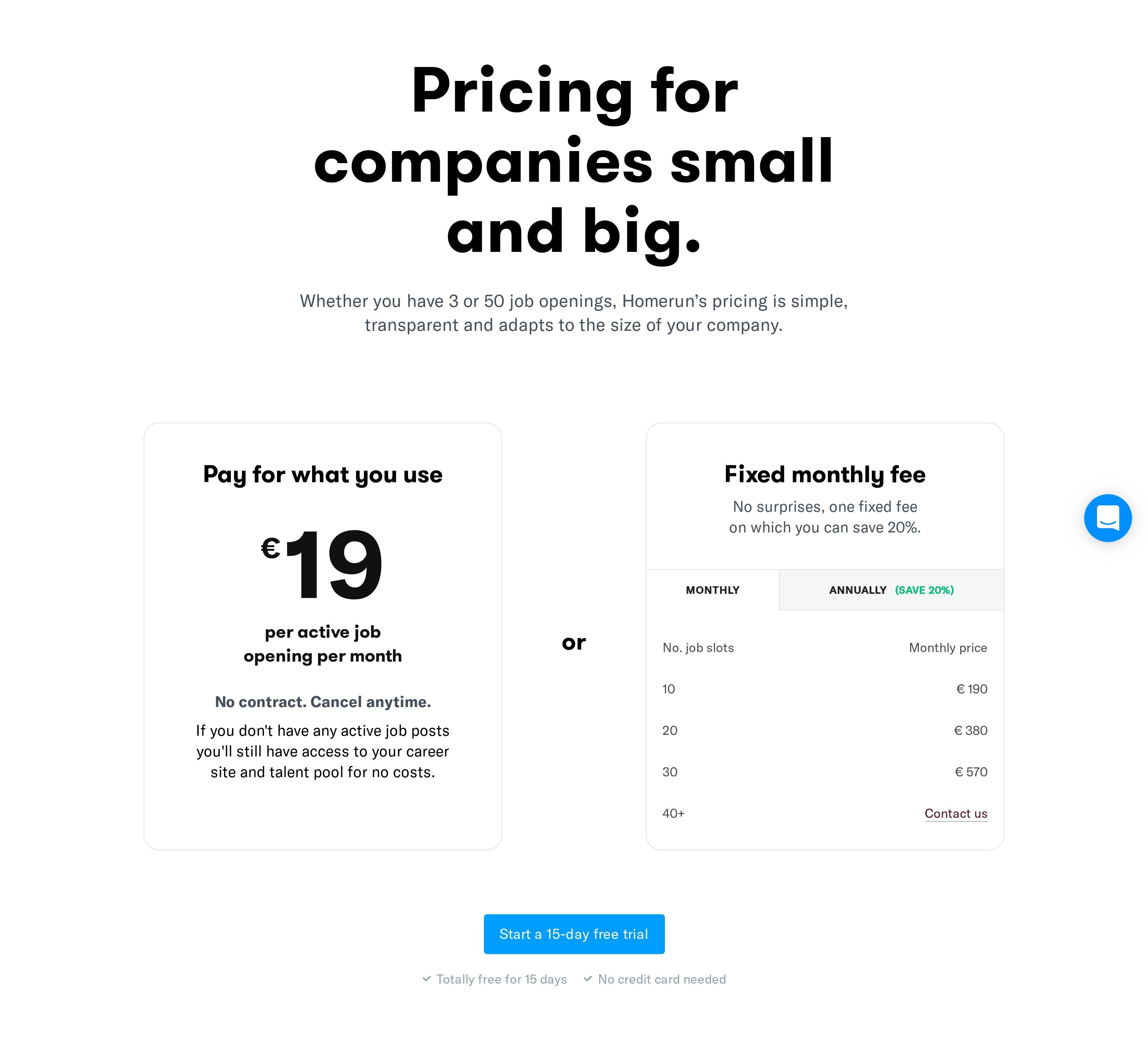 Two Plans Pricing with Free Trial