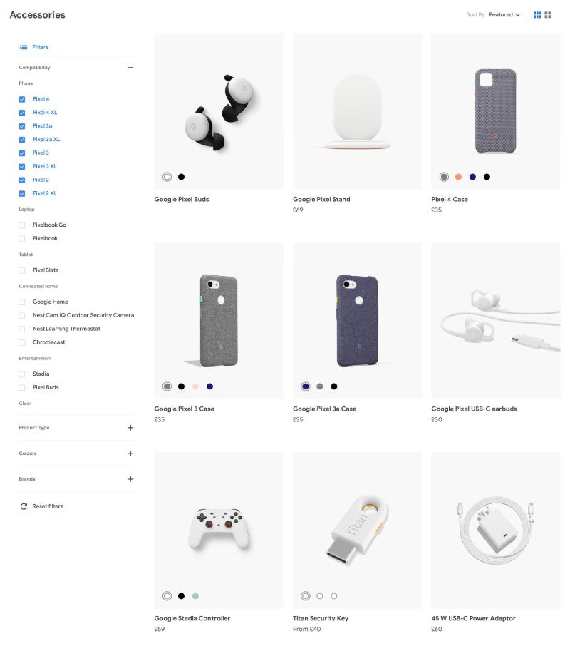 List of Ecommerce Products with Filters & Sorting