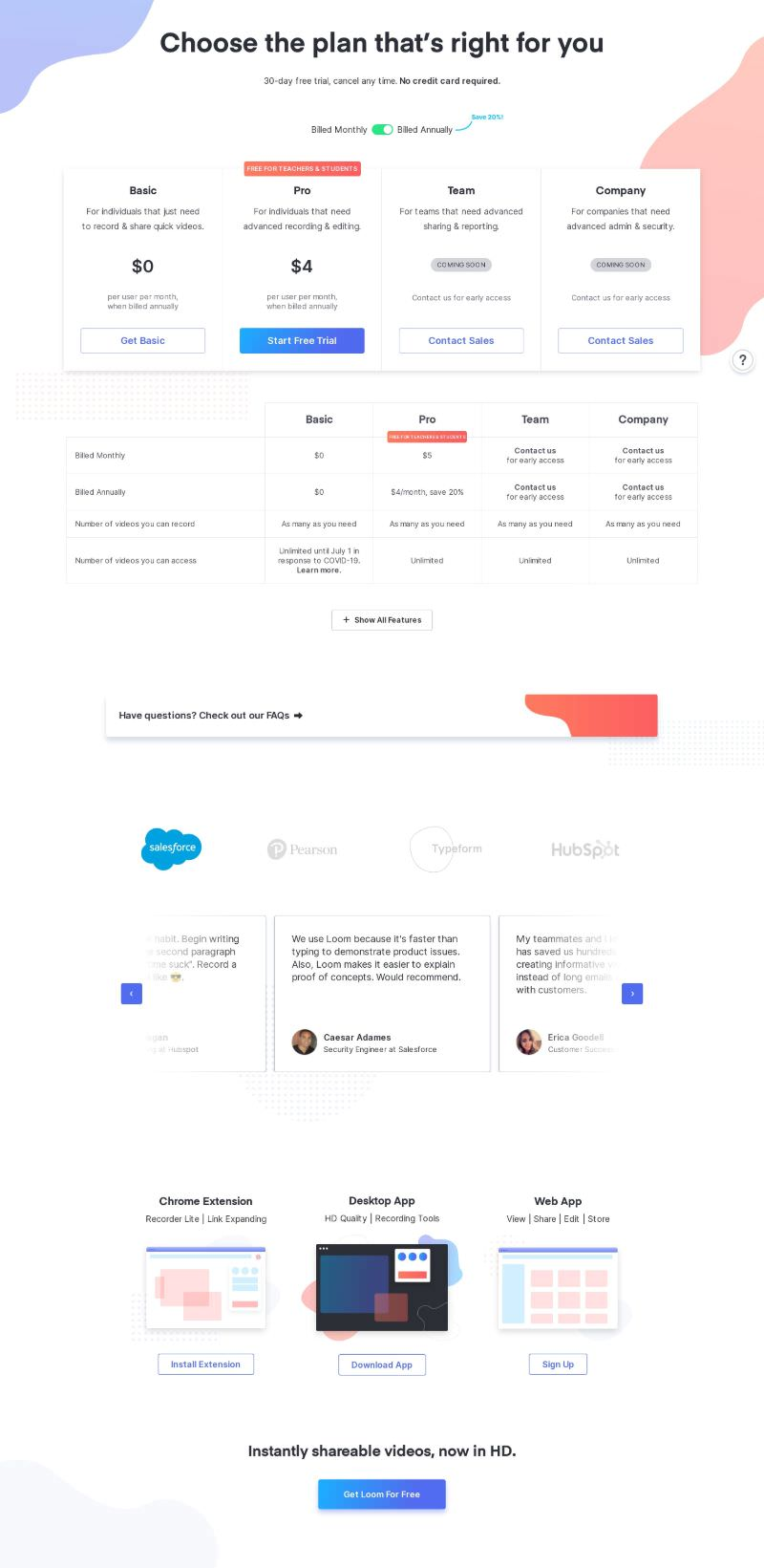 Pricing Page with 4 Plans & Clients Testimonials