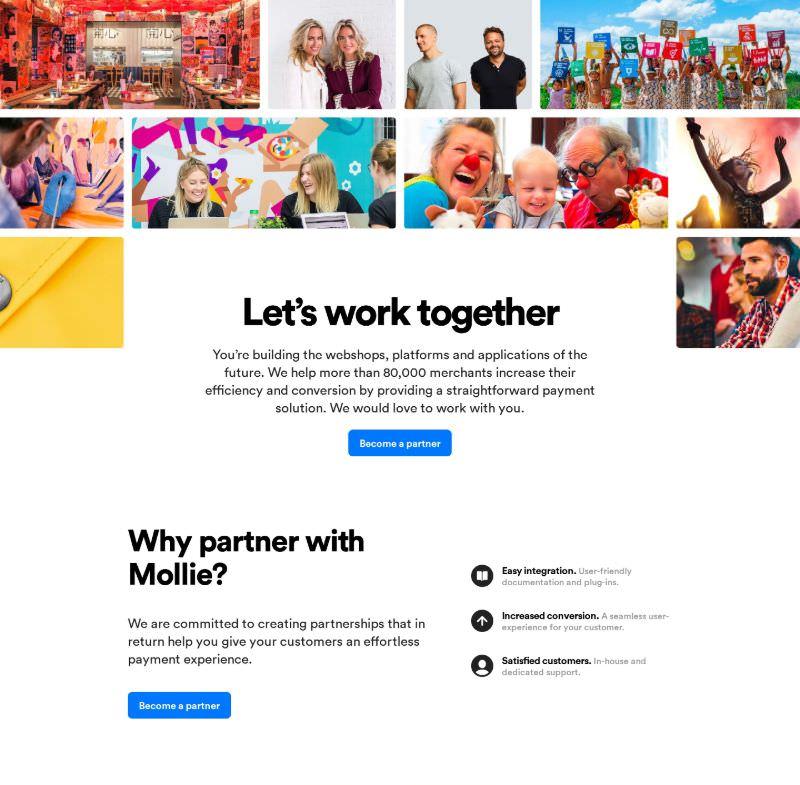 Partnership Page with Photo Gallery & Benefits List