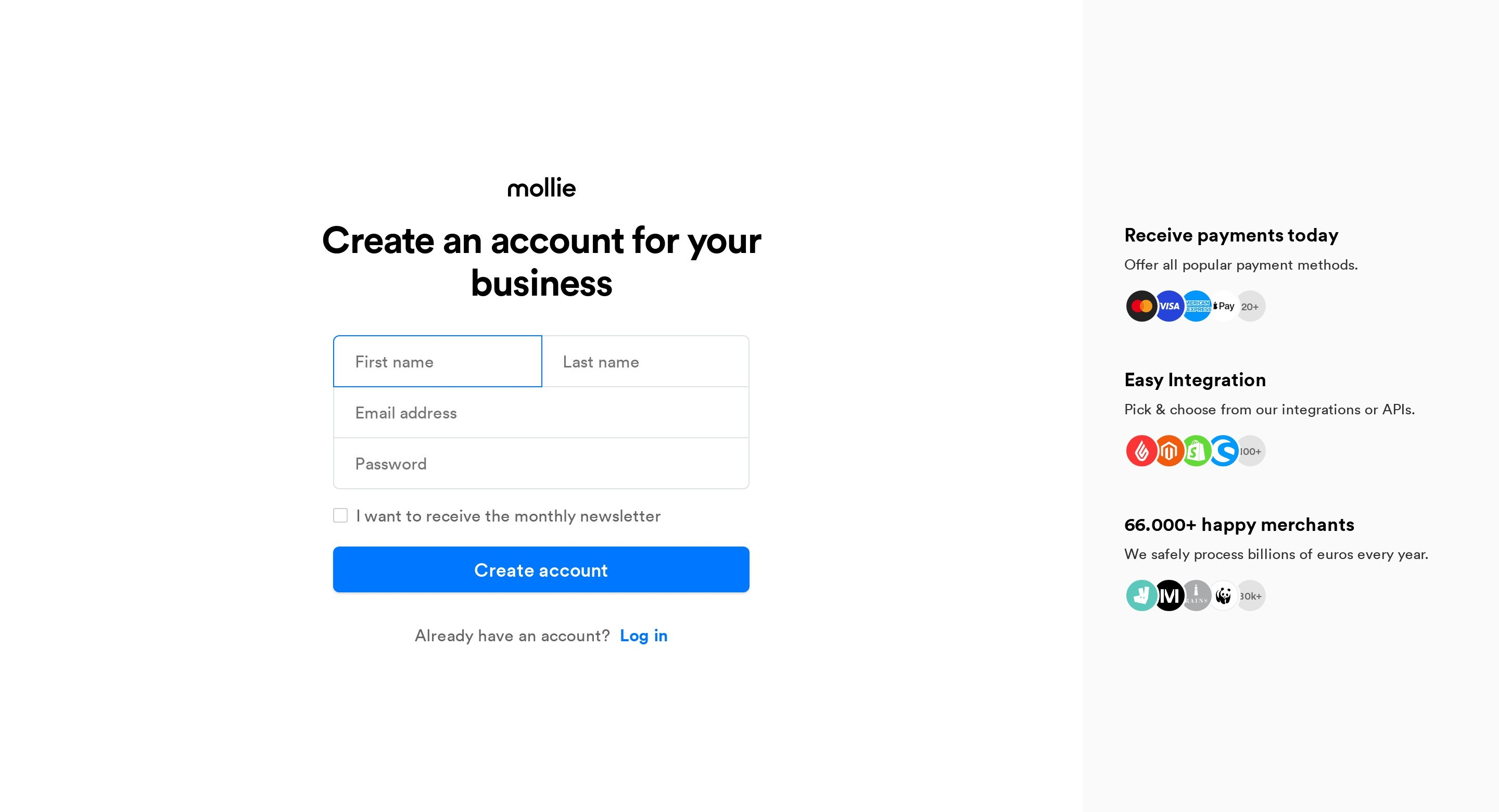 Register Account Form with Features Sidebar