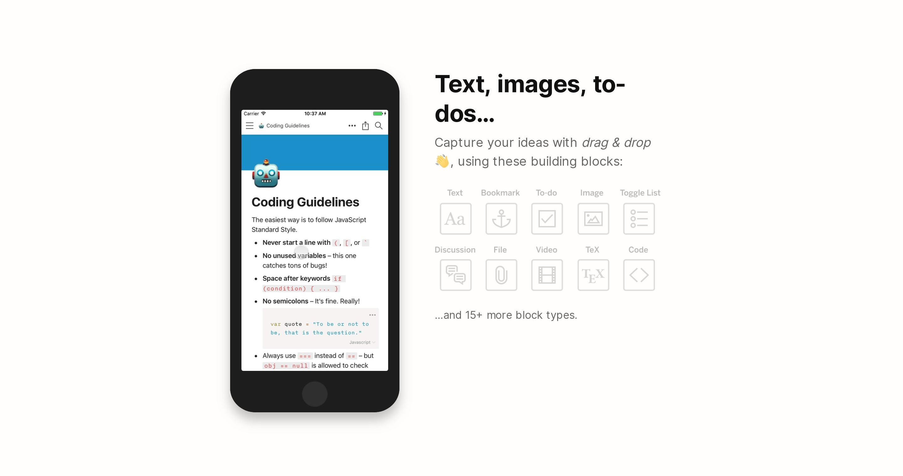 List of App Features with Phone Mockup