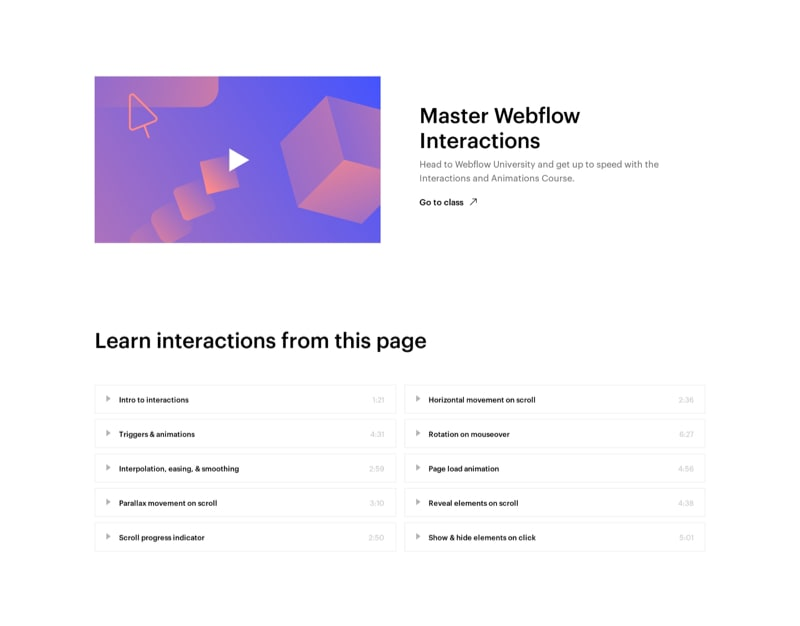 Video Masterclass with Course Content Table