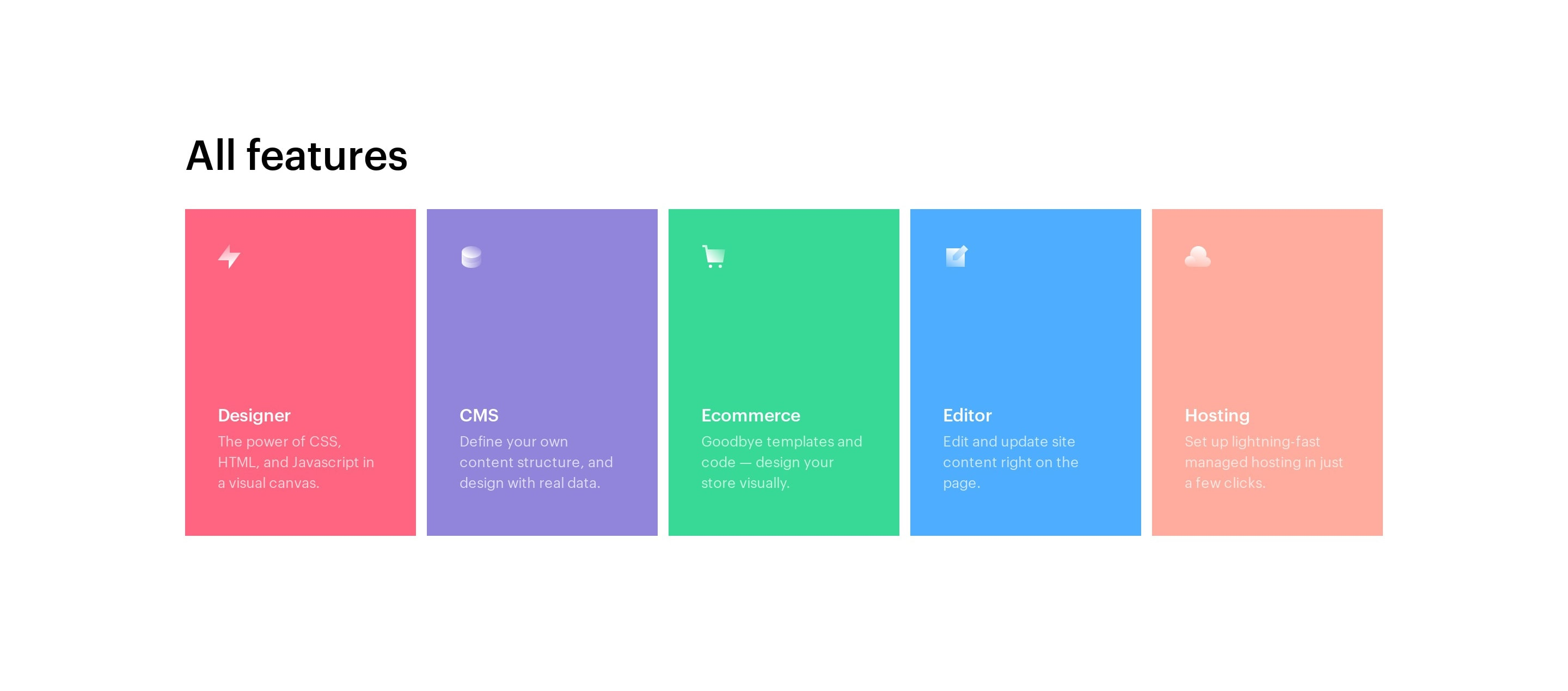 List of Features in Colored Boxes