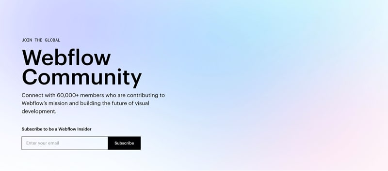 Community Hero Section with Subscribe Form on Gradient BG