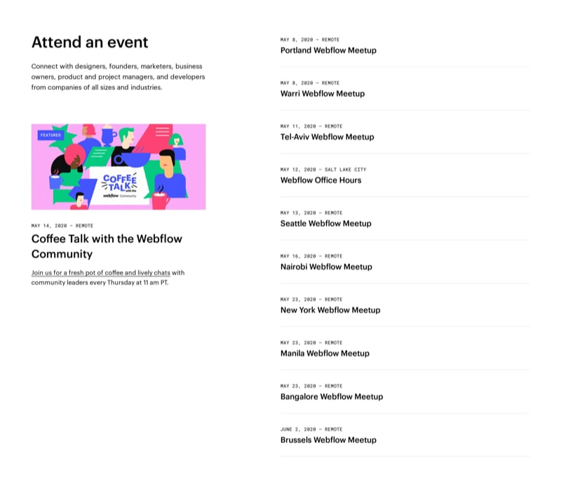 List of Events & Meetups with Dates