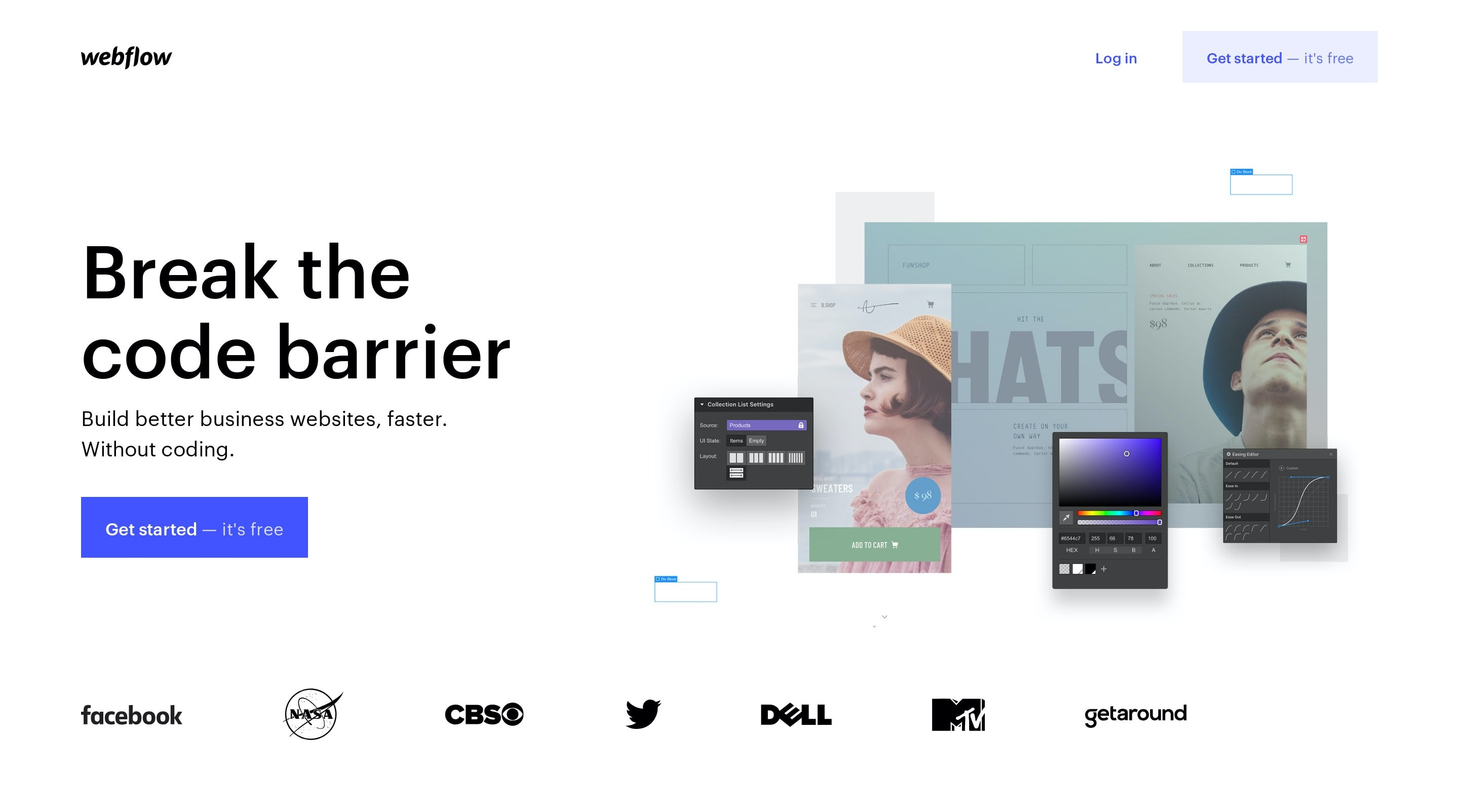 Web App Hero Section with Get Started Button