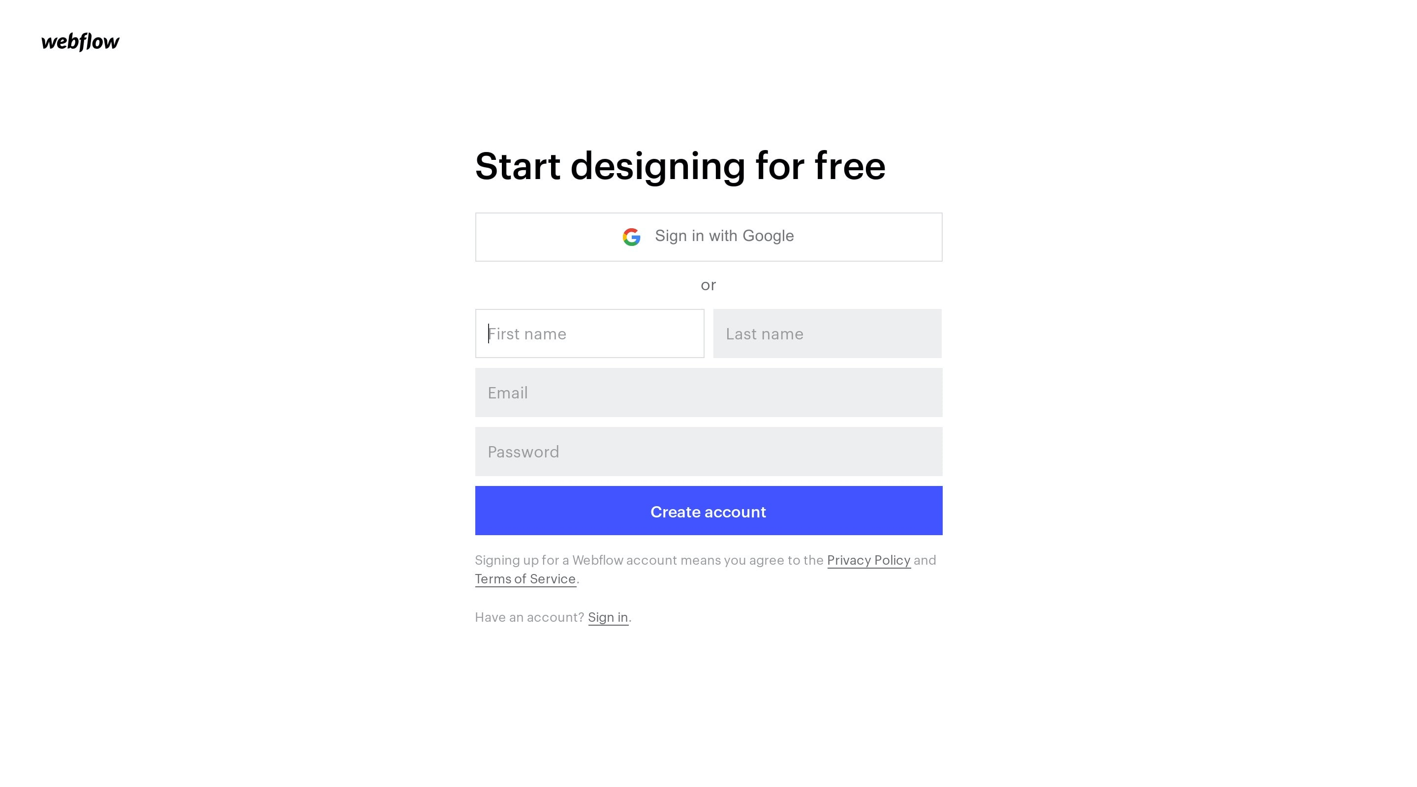Clean Sign Up Page with Sign In with Google Button