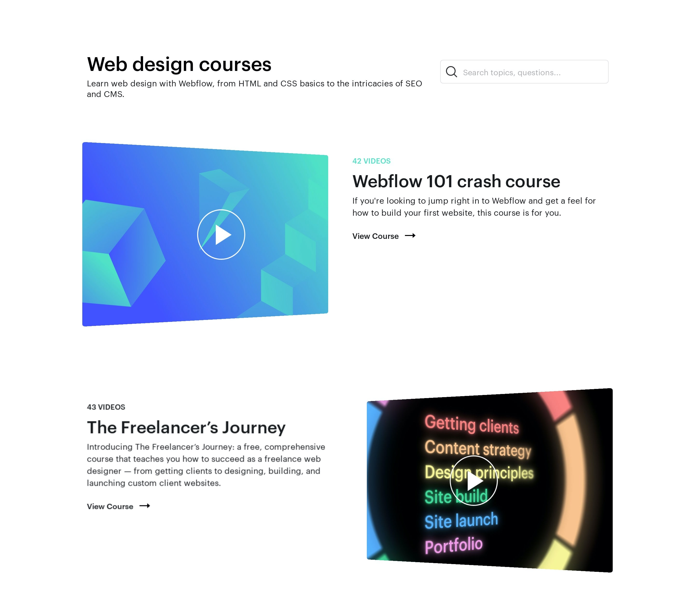 Video Courses List with Search & Play Buttons