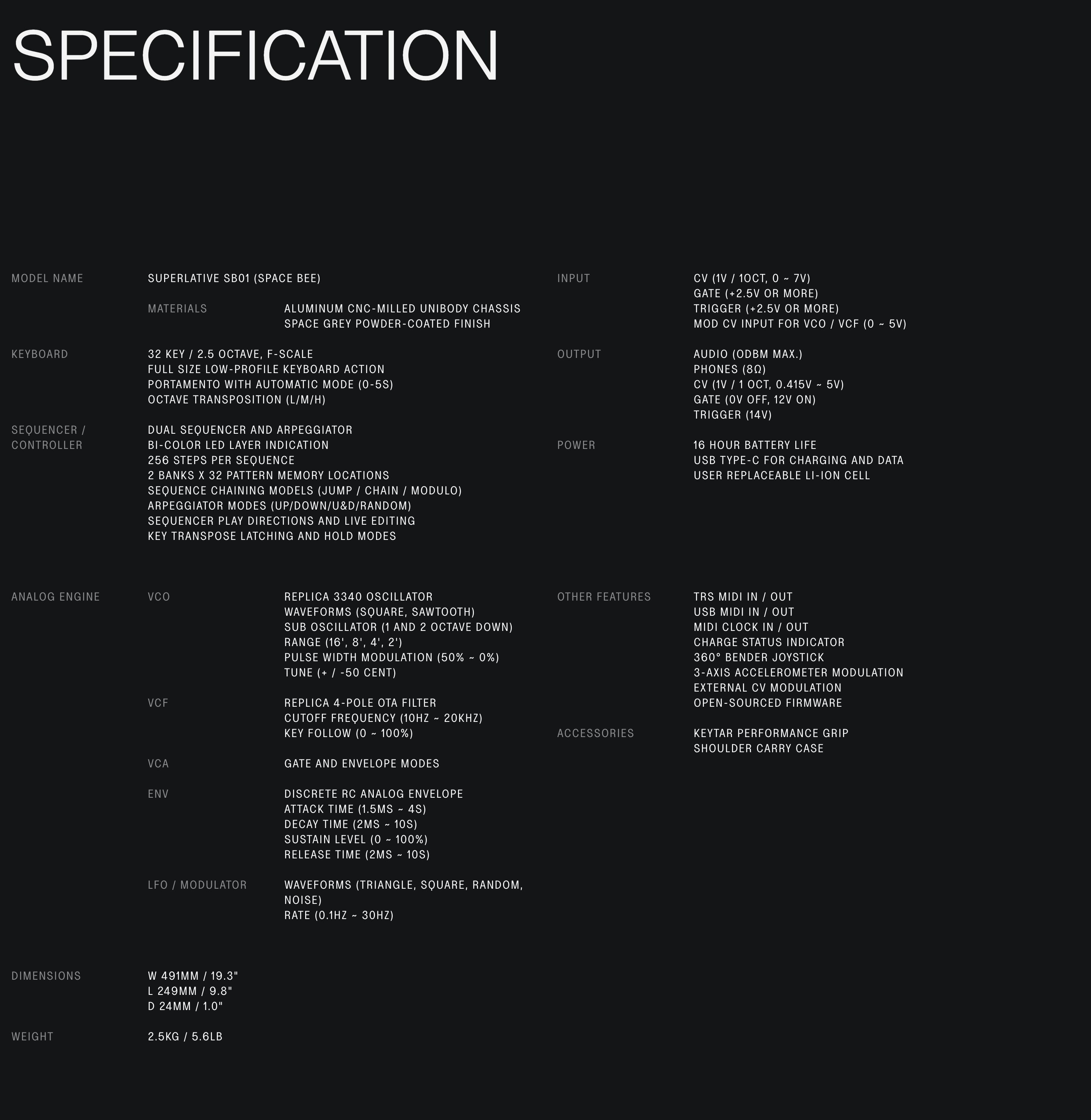 Product Specification Table with Technical Information