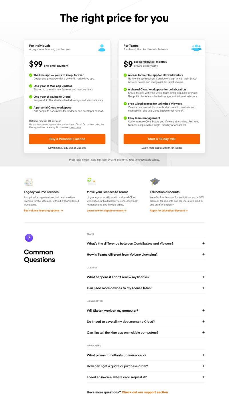 Pricing Page with Two Plans Combined with FAQ