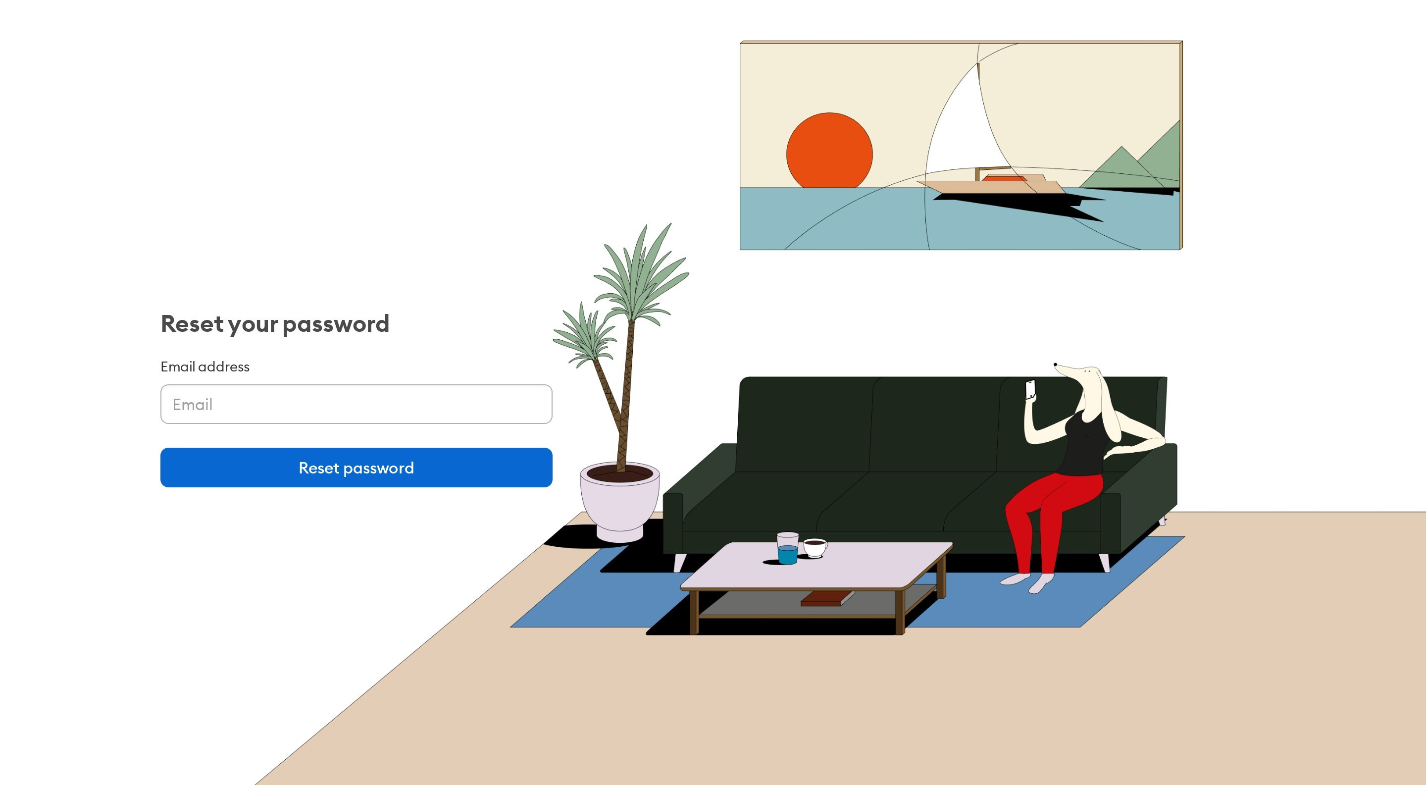 Reset Password Form with Illustration