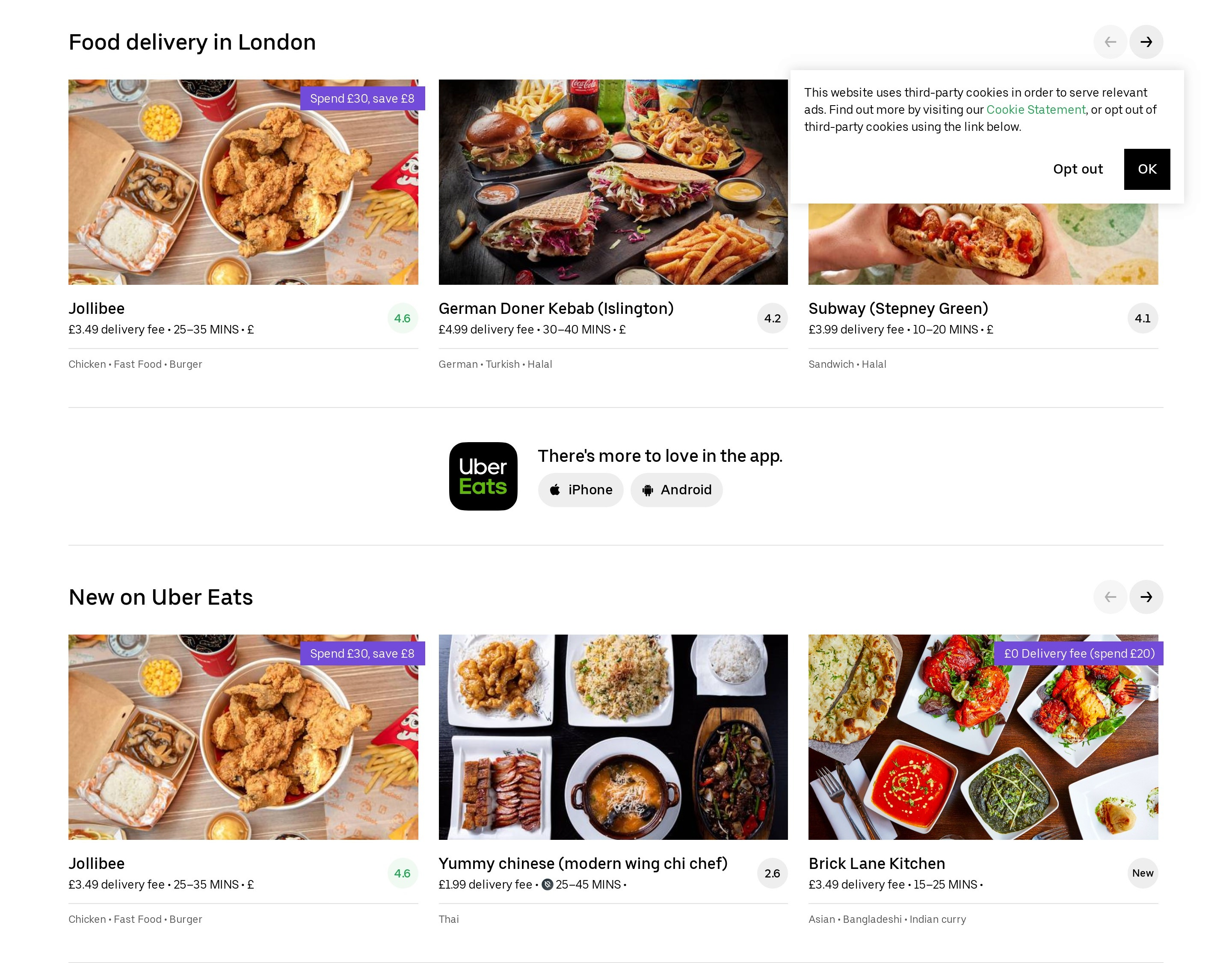 List of Restaurants with Rating & App Download Buttons