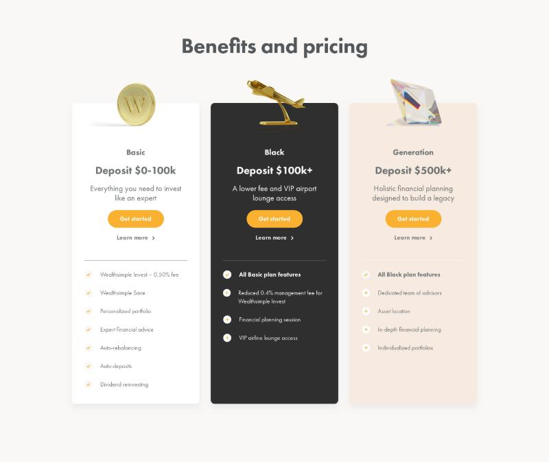 Pricing with Plan Icons and Benefits Comparison