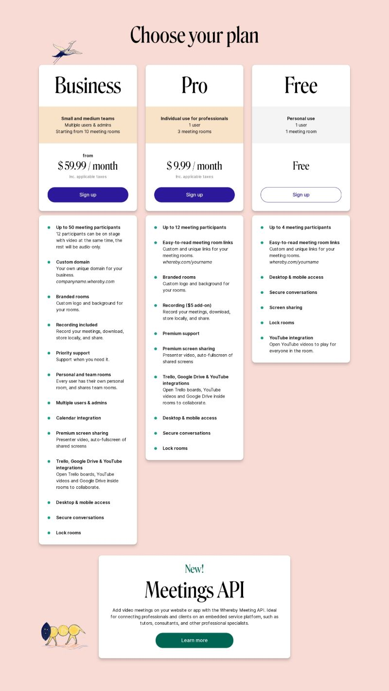 Pricing with 3 Plans & Features List