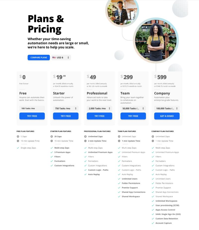 Pricing Table with 5 Plans & Features Comparison