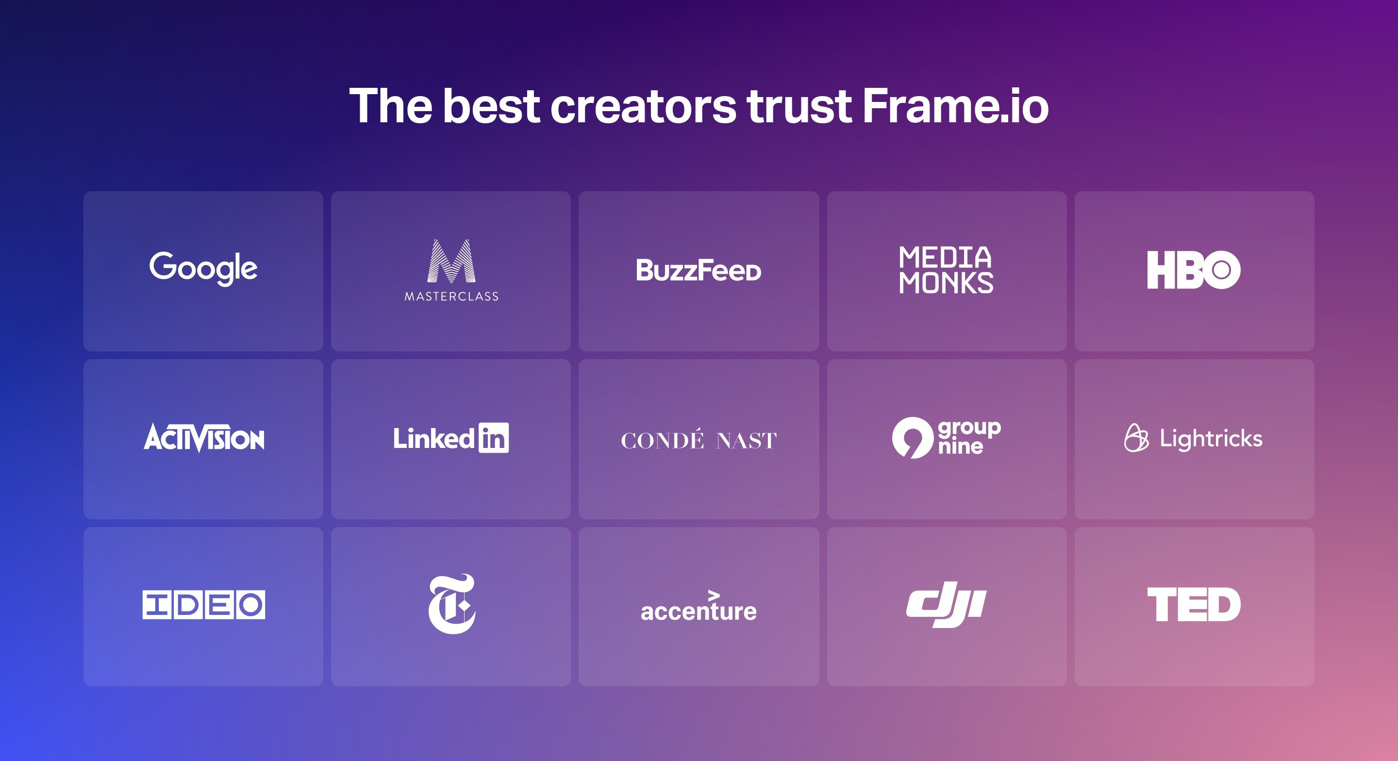 Grid of Clients Logos on Gradient Background