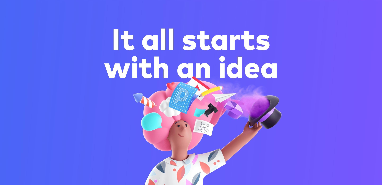 Colorful Hero Block with Headline & 3D Illustration