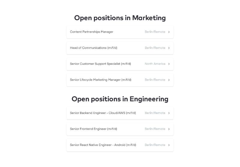 Open Positions List Separated by Departments