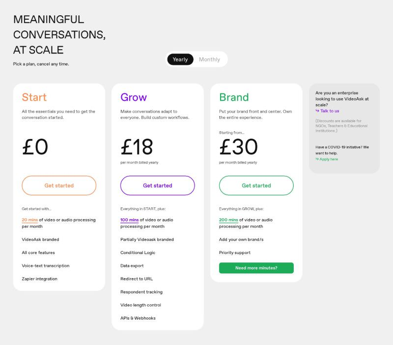 Pricing Table with 3 Plans