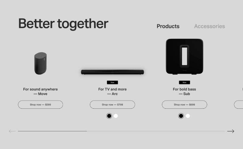 Slider of Scrollable Products & Accessories