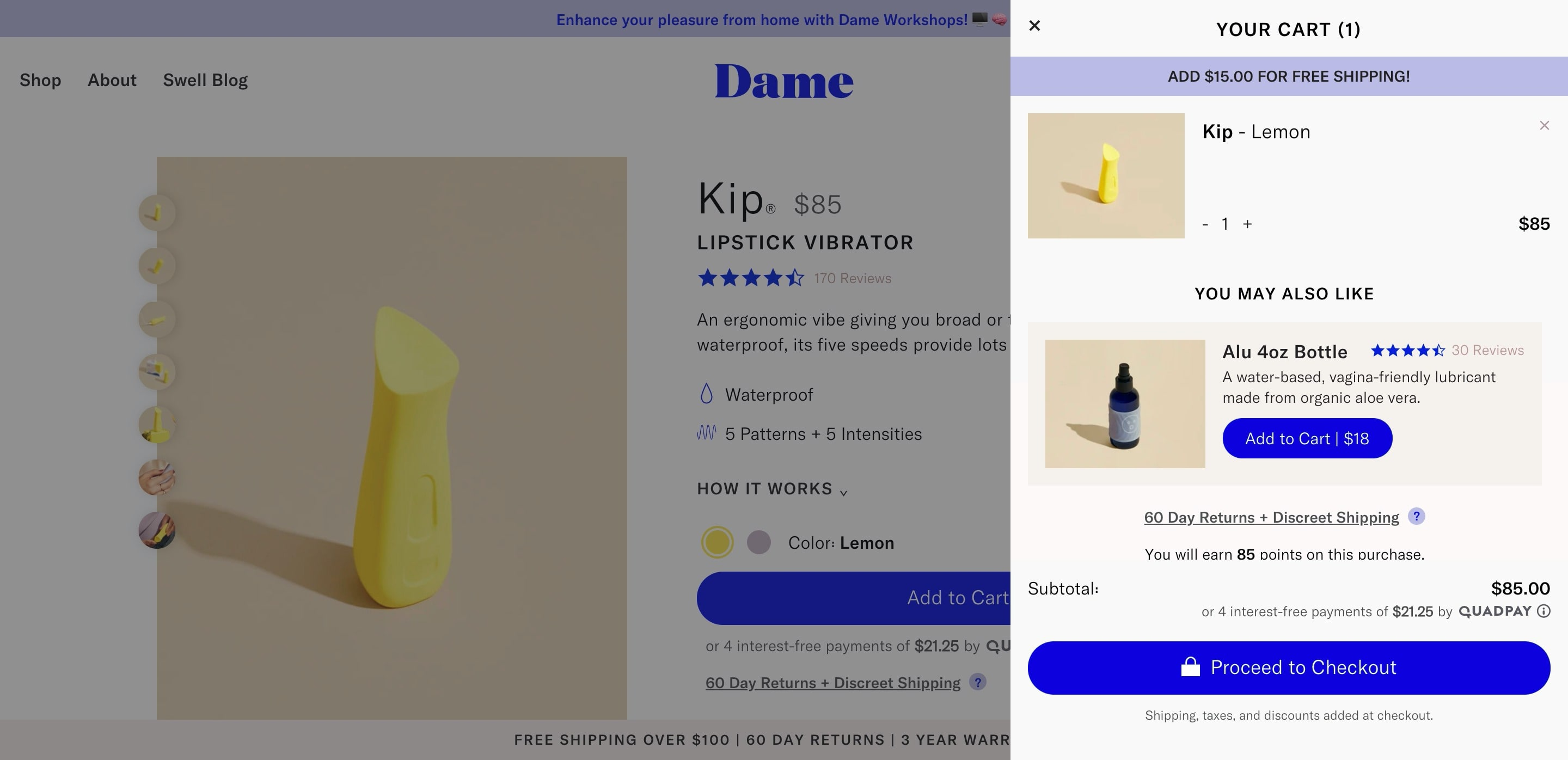 Cart Popup Overlay with Product Upsell
