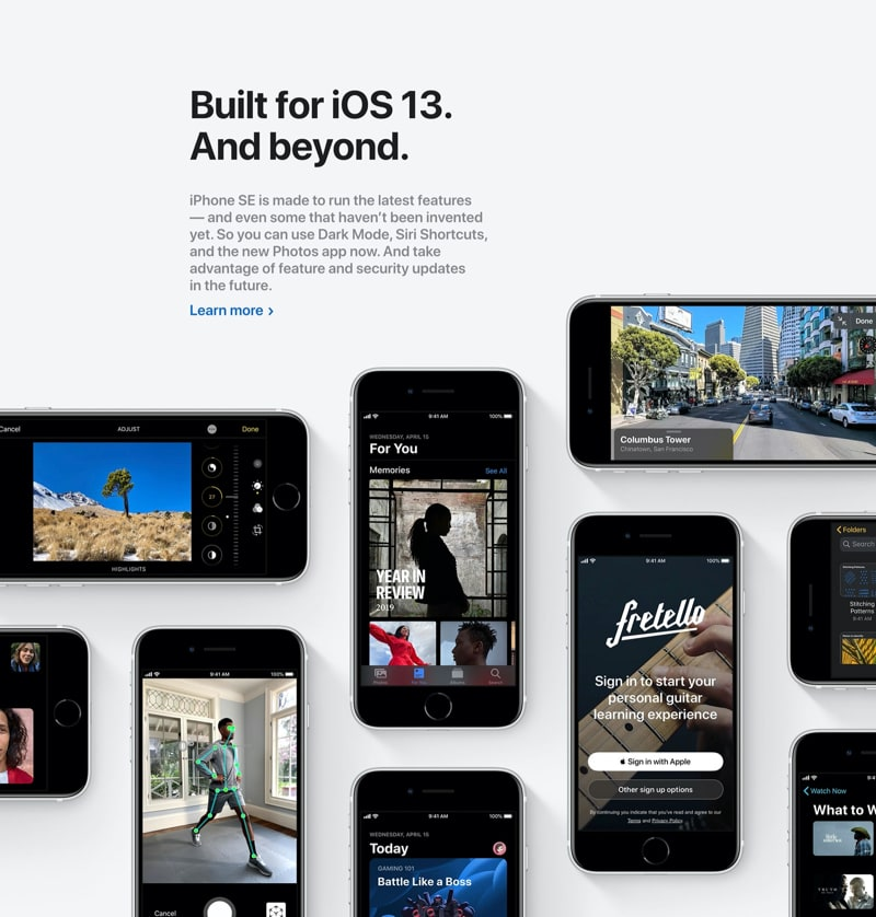 Feature Section with Grid of iPhones