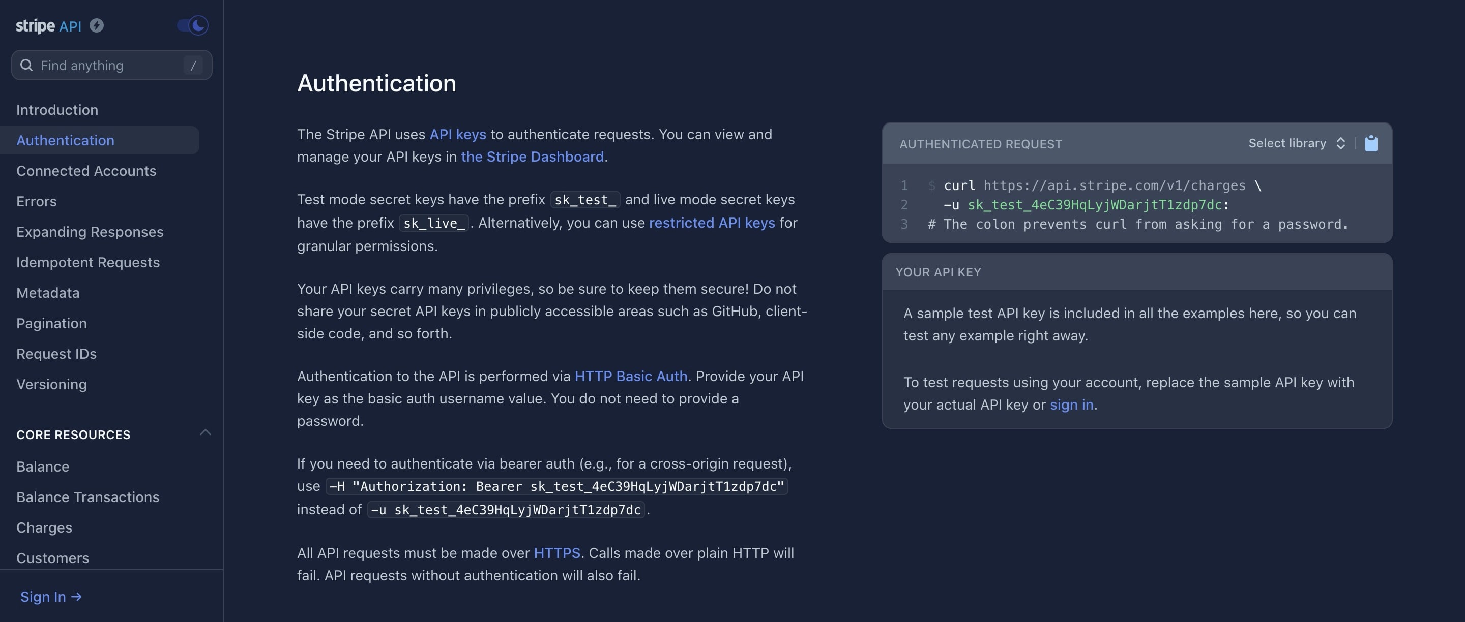 Documentation Page with Dark Colors Theme