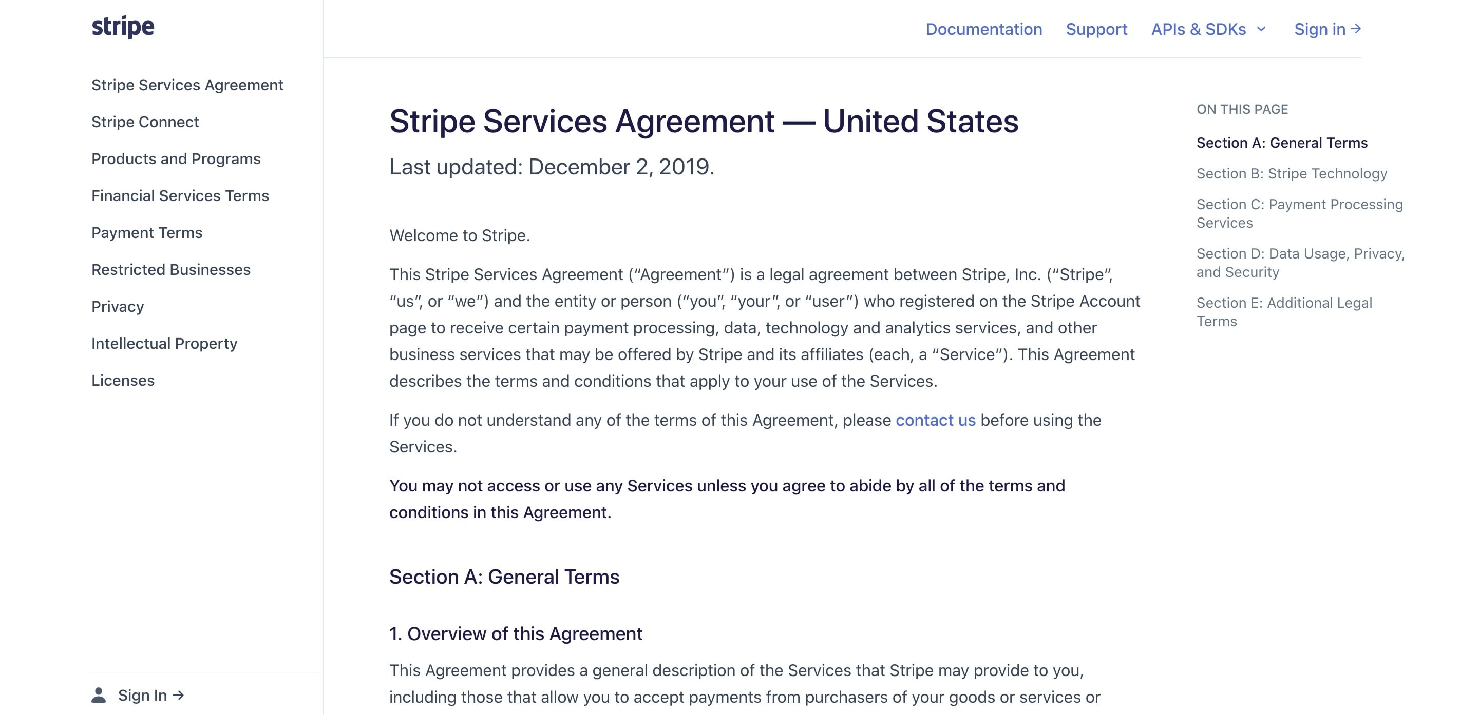 Terms & Conditions Page with Navigation