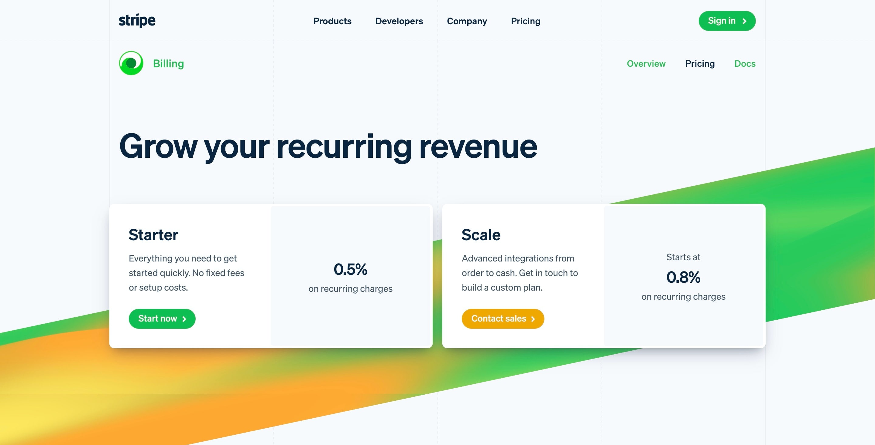 Hero Section for Pricing Page