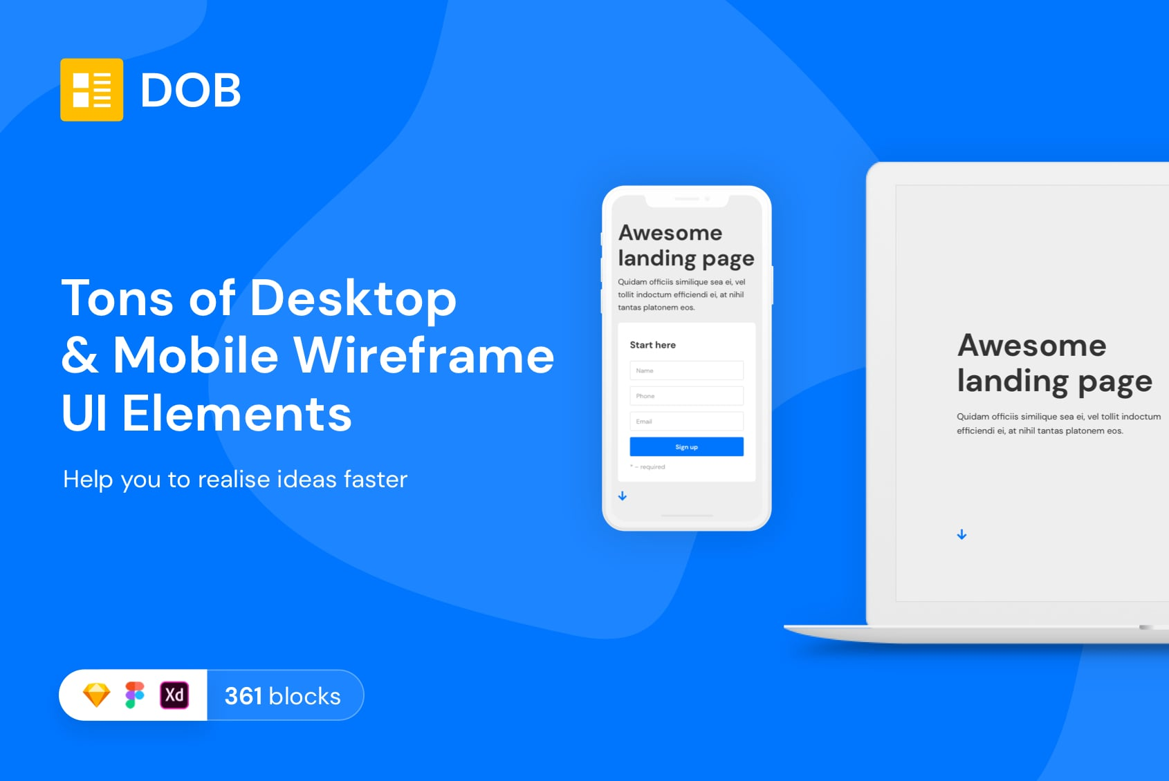 Desktop & Mobile Wireframe UI Elements