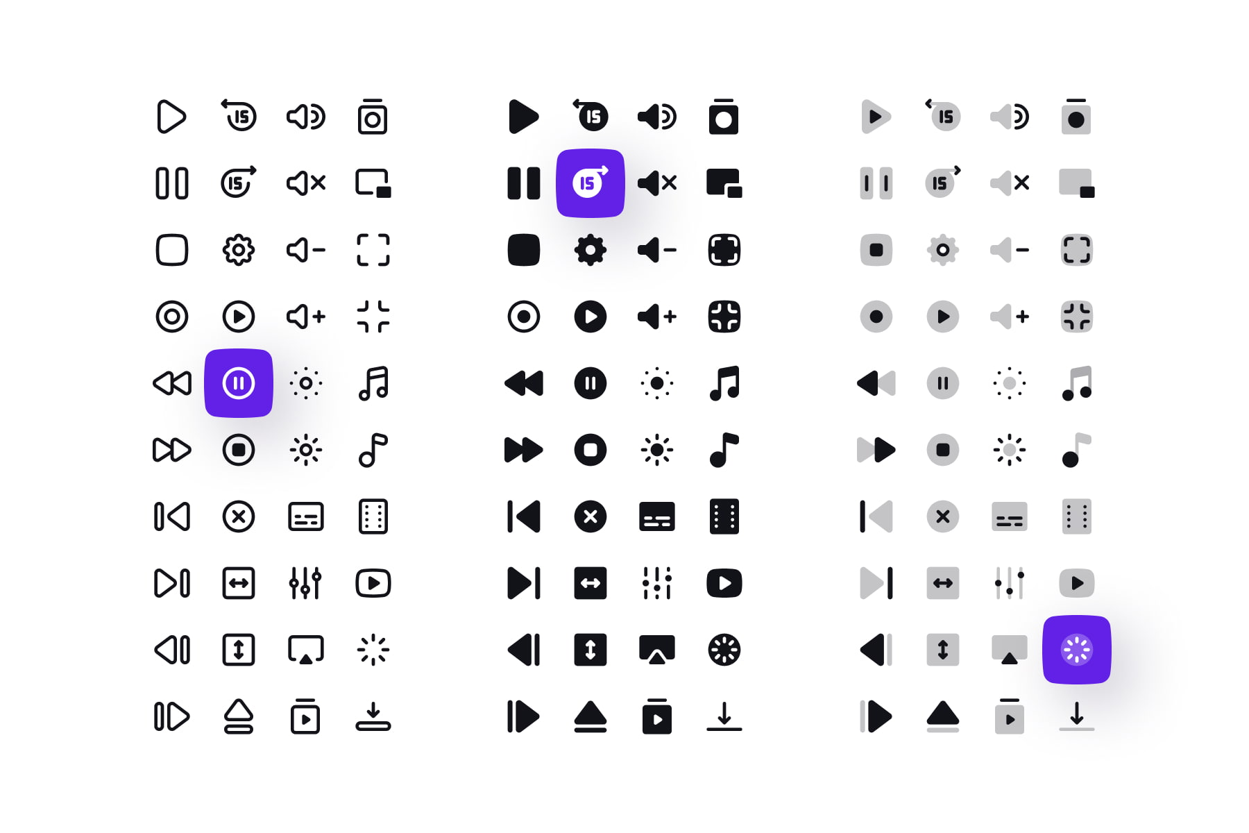 Media Controls Icons in 3 Styles