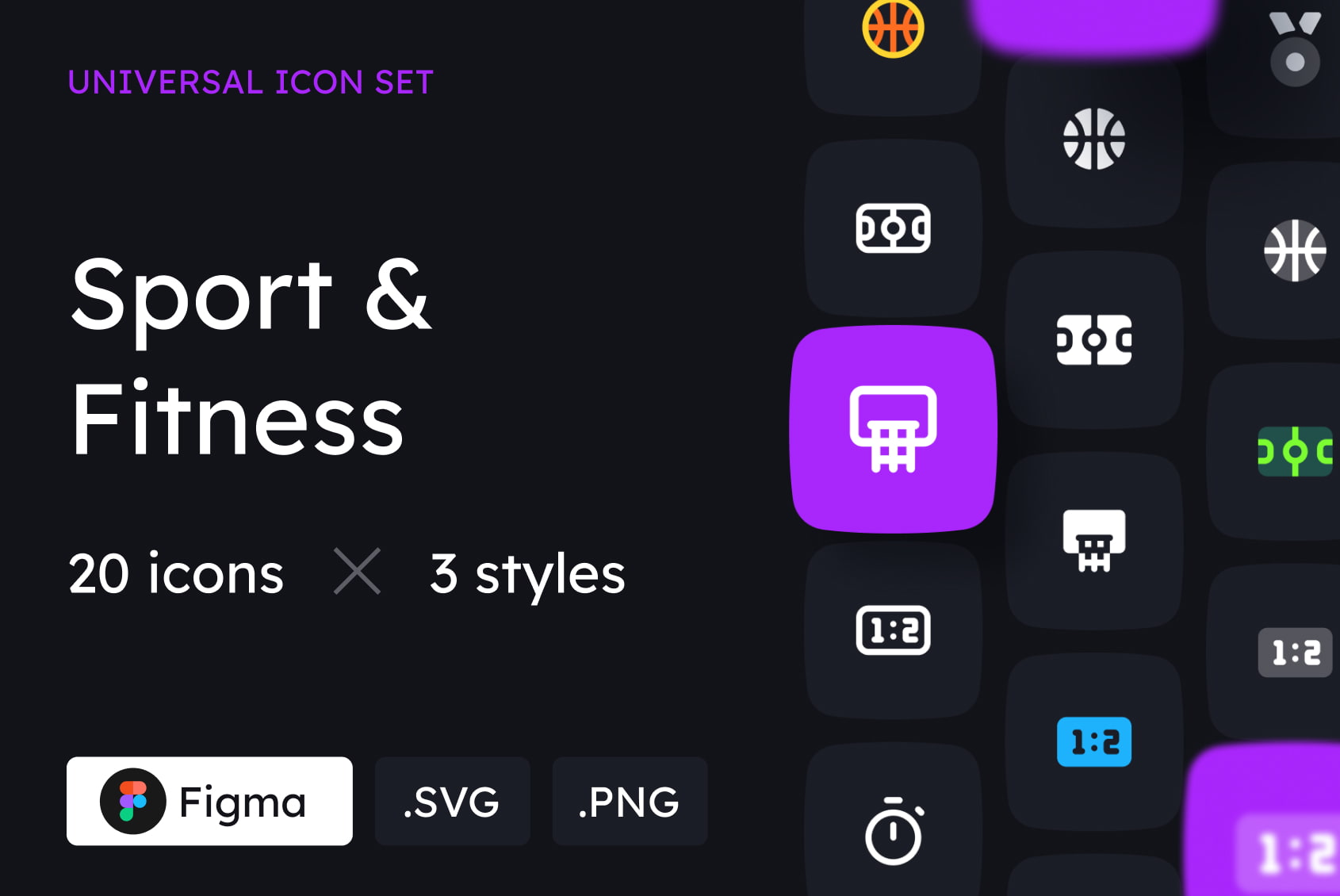 Sport and Fitness Icons in 3 Styles