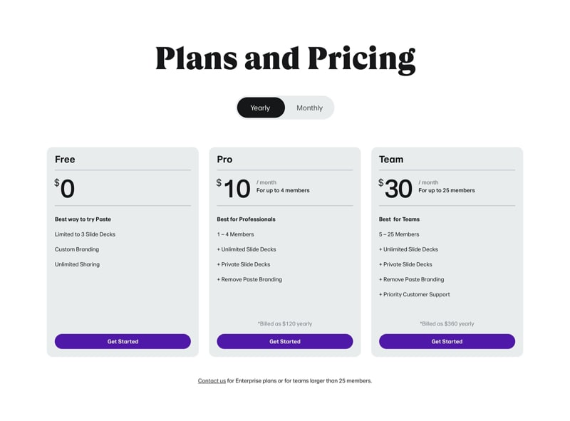 Pricing Plans with Three Columns