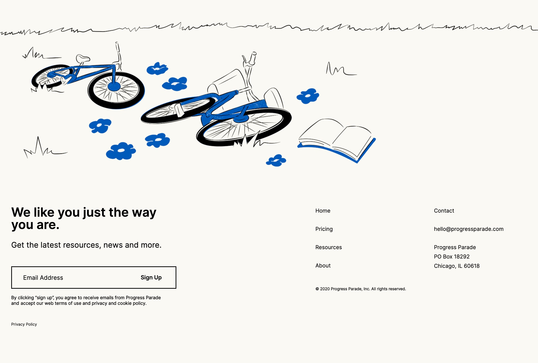 Footer Navigation Menu with Illustration