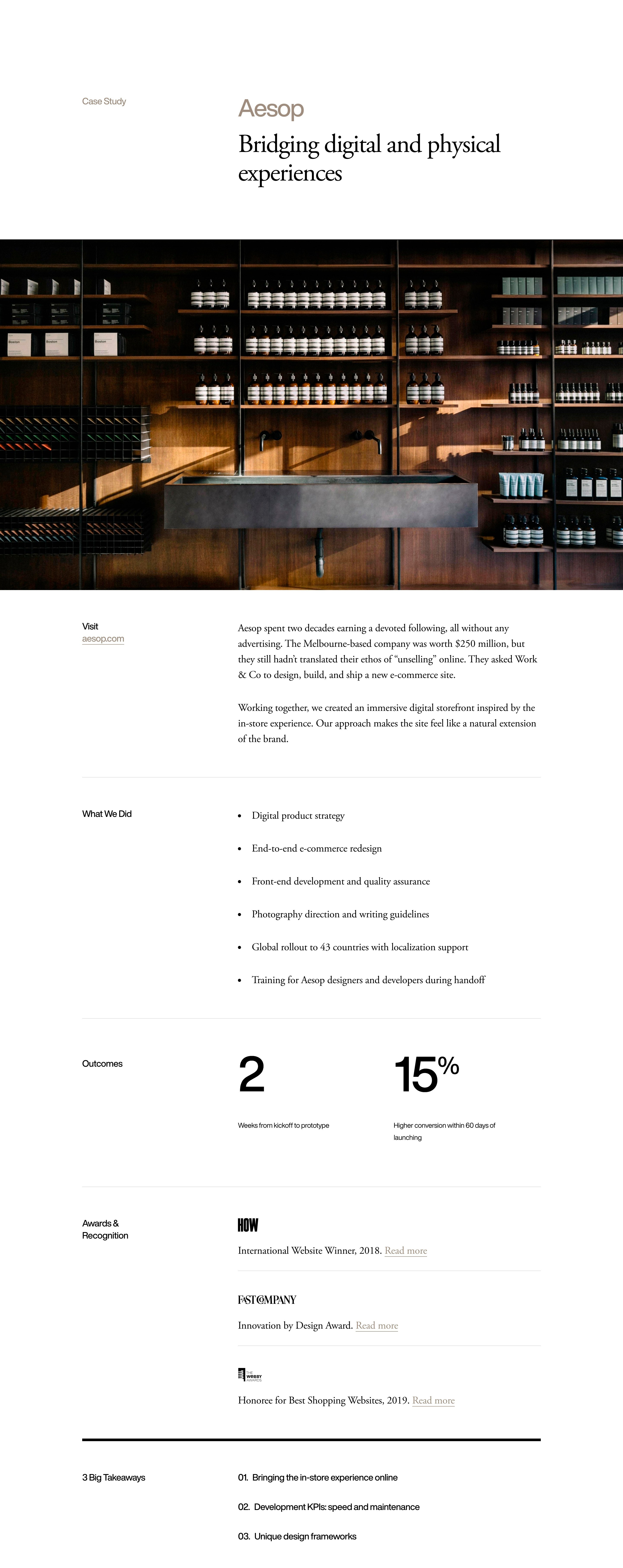 Case Study Page with Outcomes & Awards