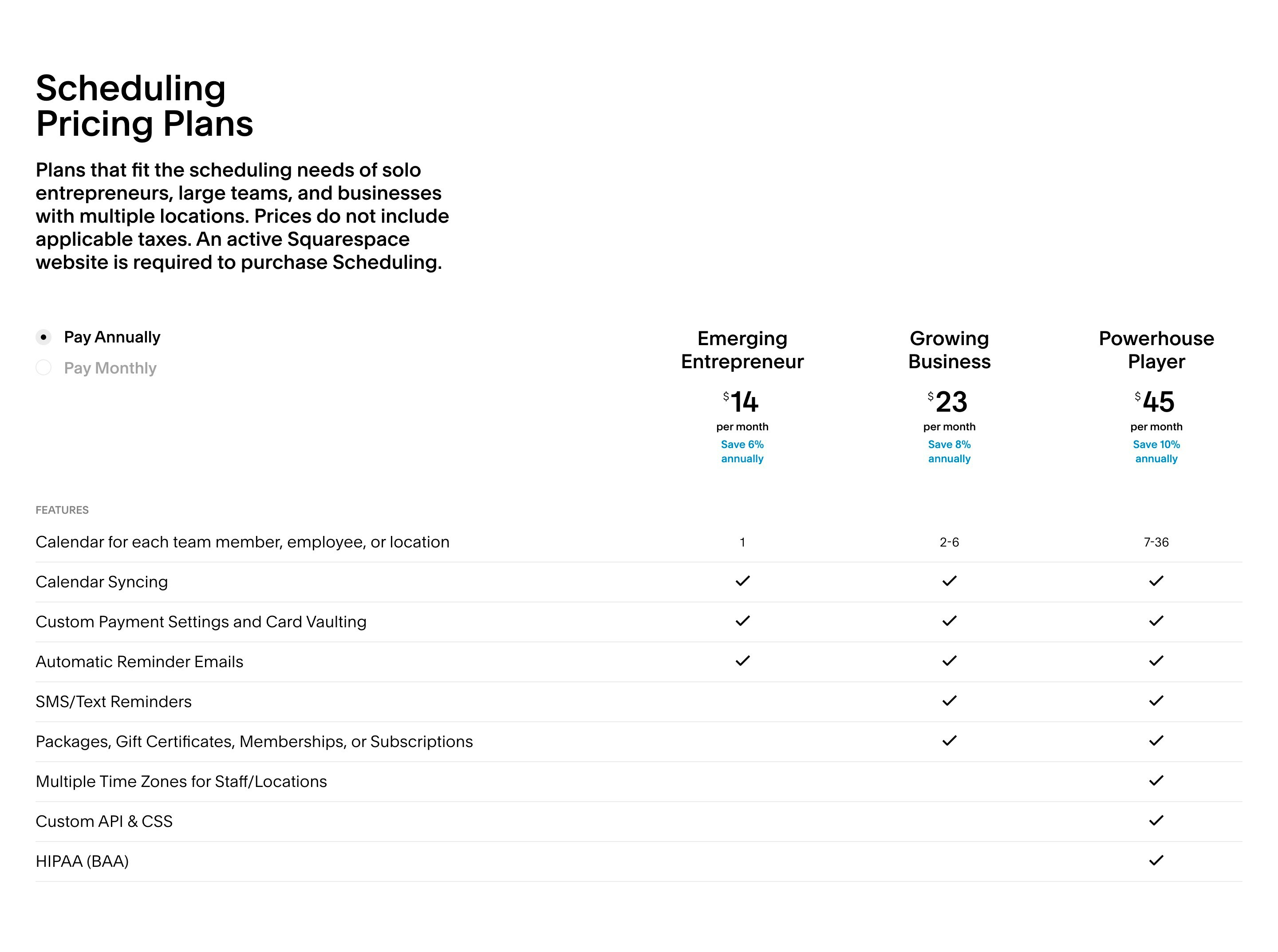 Pricing with Plans Table Comparison