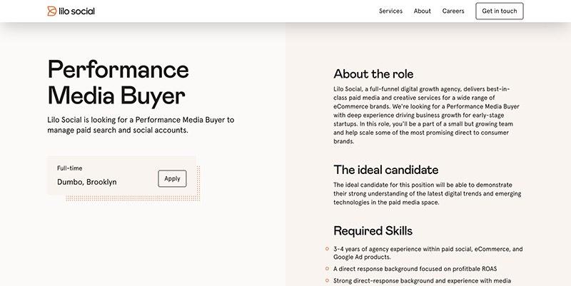 Vacancy Page with Two Column Layout