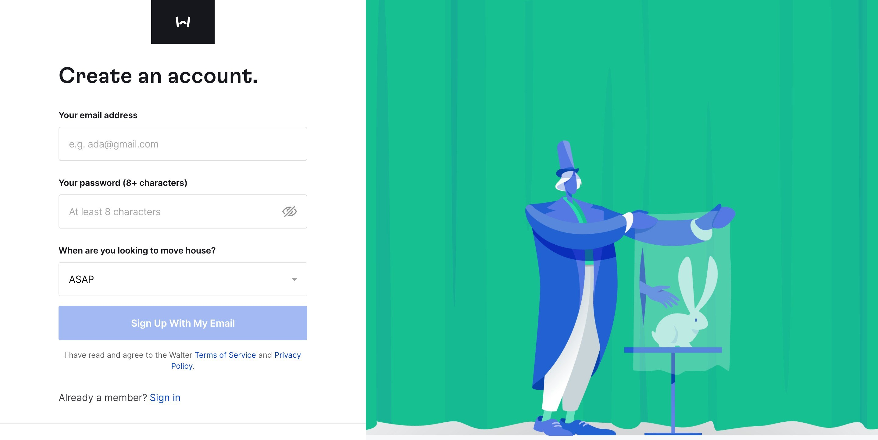 Create an Account Form with Illustration