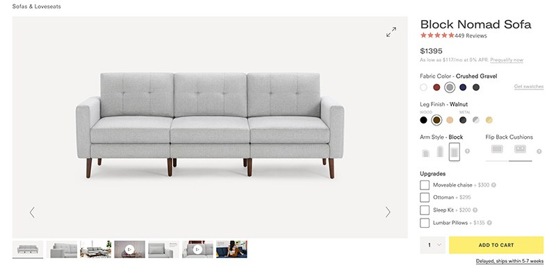Furniture Selling Ecommerce Block