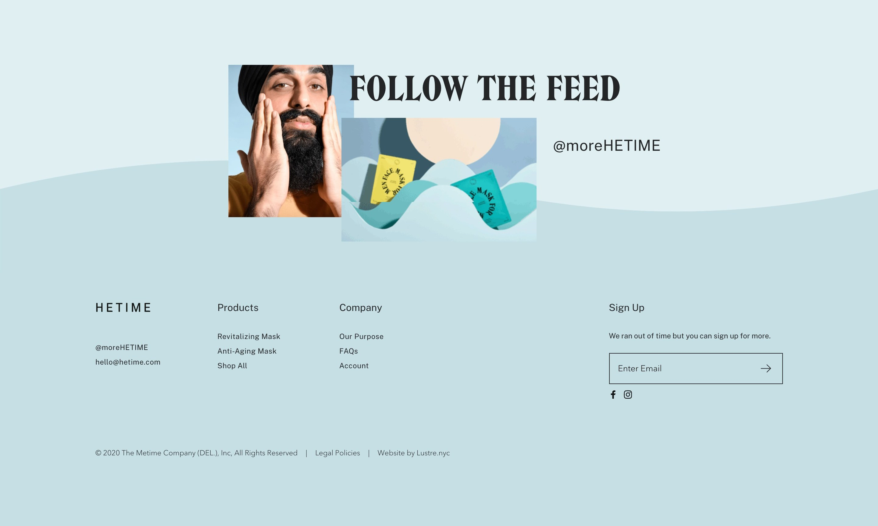 Navigation Footer with Client and Products Photo