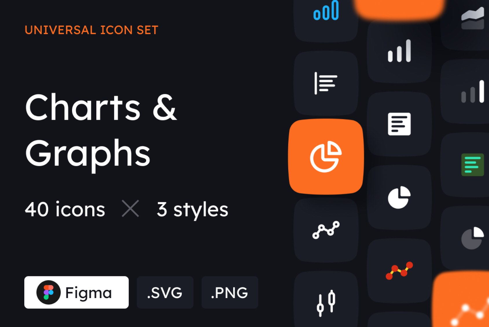 Charts and Graphs Icons in 3 styles