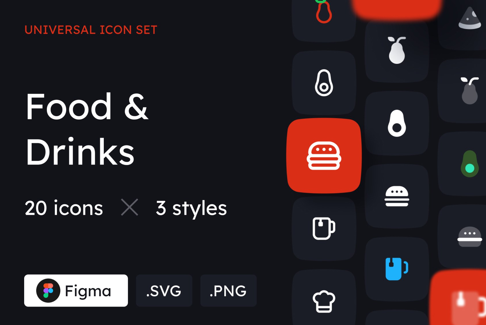 Food and Drinks Icons in 3 styles