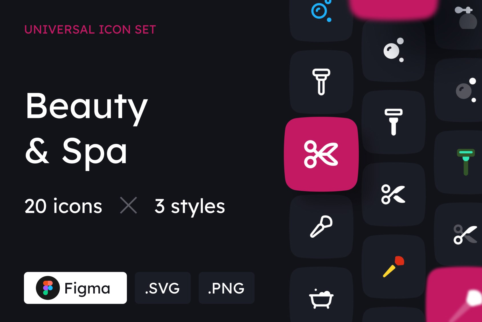 Beauty and Spa Icons in 3 styles