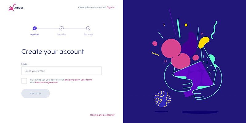 Sign Up Form with Illustration and Registration Steps