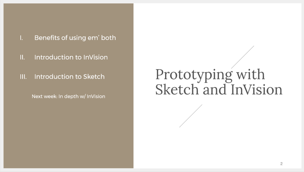 Table of contents: Introduction to Sketch & InVision